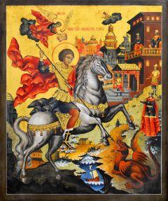 Рукописная икона Чудо Георгия о змии с кракелюром 18 (Размер 27*31 см)