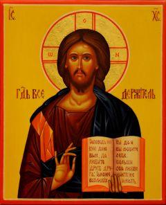 Рукописная икона Спас Вседержитель 28 (размер 13*16 см)