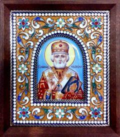 Икона из финифти Николай Чудотворец 4