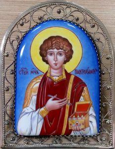 Икона из финифти Пантелеймон Целитель