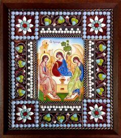 Икона из финифти Святая Троица 2
