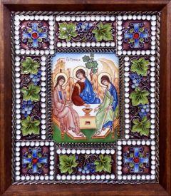Икона из финифти Святая Троица 3