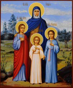 Рукописная икона Вера Надежда Любовь и Мать их София