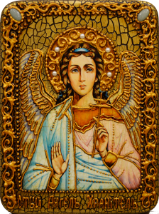 Икона ручной работы Ангел Хранитель с камнями 3 (Размер 15*20 см)
