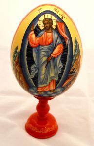 Пасхальное яйцо рукописное Воскресение Христово