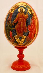 Пасхальное яйцо рукописное большое Воскресение Христово