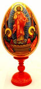 Пасхальное яйцо рукописное Воскресение Христово с Ангелами 4