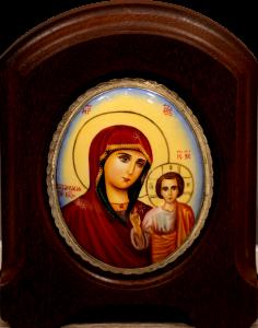 Икона из финифти Казанская