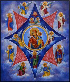 Рукописная икона Неопалимая Купина 13 (Размер 17*21 см)