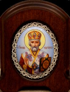 Икона из финифти Николай Чудотворец 51 (Размер 11*14 см)