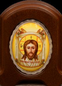Икона из финифти Спас Нерукотворный с Ангелами 2
