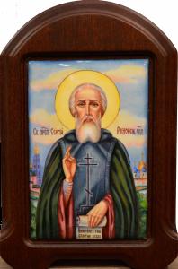 Икона из финифти Сергий Радонежский 2 (Размер 15*22.5 см)