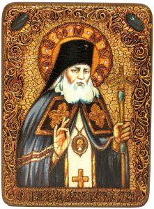 Икона ручной работы Лука Крымский с камнями
