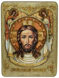 Икона ручной работы Спас Нерукотворный с камнями