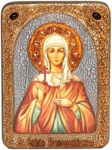 Икона ручной работы Емилия Кесарийская с камнями
