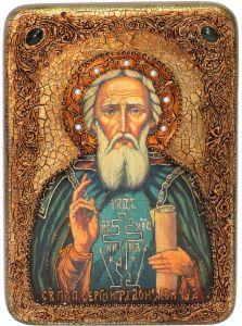 Икона ручной работы Сергий Радонежский с камнями