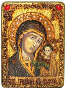 Икона ручной работы Казанская с камнями