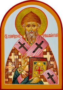Рукописная икона Спиридон Тримифунтский арочная 17 (Размер 9*13 см)