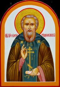 Рукописная икона Сергий Радонежский арочная 18 (Размер 9*13 см)
