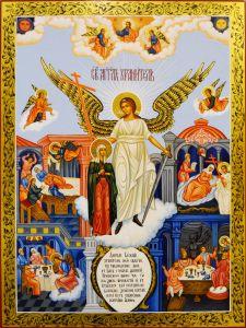 Рукописная икона Ангел-Хранитель и Наталия Никомидийская
