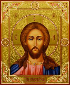 Рукописная икона Спаситель с резьбой 31