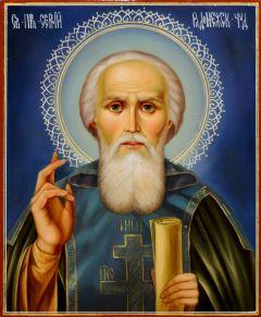 Рукописная икона Сергий Радонежский масло 19