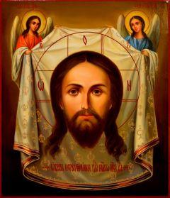 Рукописная икона Спас Нерукотворный с Ангелами масло 18 (Размер 27*31 см)