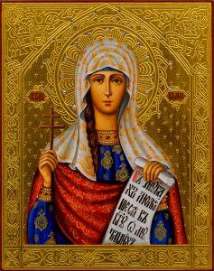 Рукописная икона Татьяна Татиана Римская 12 (Размер 13*16 см)