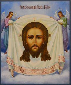 Рукописная икона Спас Нерукотворный с Ангелами 19 (Размер 21*25 см)