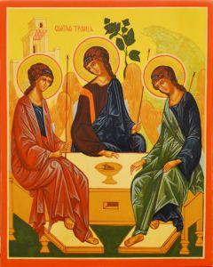 Рукописная икона Святая Троица 17 (Размер 17*21 см)