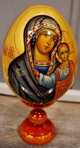 Пасхальное яйцо рукописное Казанская икона