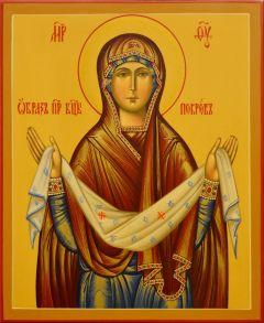 Рукописная икона Покров Божией Матери под старину 12 (Размер 21*25 см)
