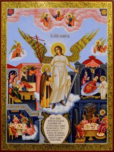 Рукописная икона Ангел Хранитель и Александр Свирский