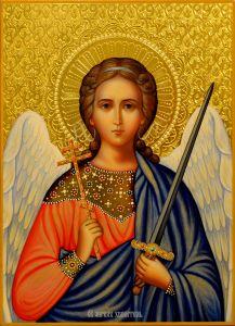 Рукописная икона Ангел Хранитель с резьбой 68 (Размер 22*30 см)