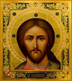 Рукописная икона Спаситель (оплечный) 37 (Размер 27*31 см)
