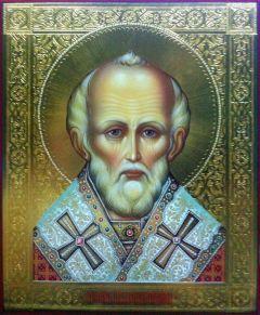 Рукописная икона Николай Чудотворец 55