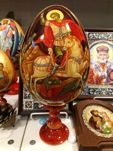 Пасхальное яйцо рукописное Георгий Победоносец