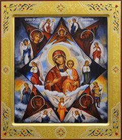 Рукописная икона Неопалимая Купина с резьбой 9 (Размер 27*31 см)