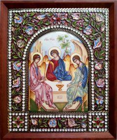 Икона из финифти Святая Троица 4