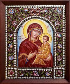 Икона из финифти Тихвинская