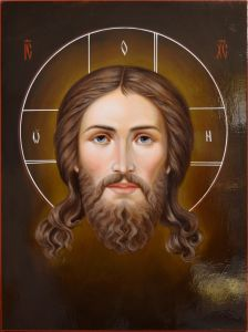 Рукописная икона Спас Нерукотворный масляная живопись