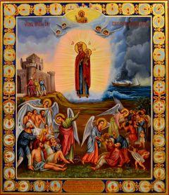 Рукописная икона Всех Скорбящих радость масло (Размер 27*31 см)
