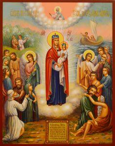 Рукописная икона Всех Скорбящих Радость 8 (Размер 22*28 см)