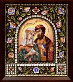 Икона из финифти Петр и Феврония 2 (Размер 14*16 см)