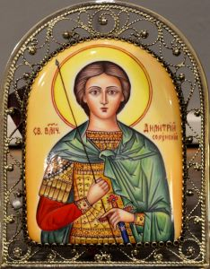 Икон из финифти Дмитрий Солунский