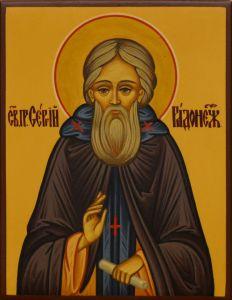 Рукописная икона Сергий Радонежский 22 (Размер 7*9 см)