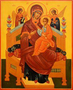 Рукописная икона Всецарица под старину 10