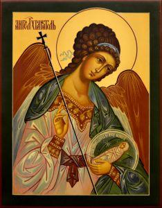 Рукописная икона Ангел Хранитель с Душой 72 (Размер 19*24 см)