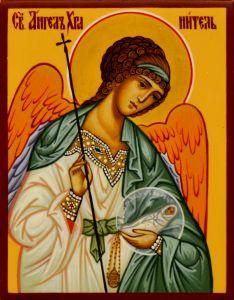 Рукописная икона Ангел с Душой 73 (Размер 7*9 см)