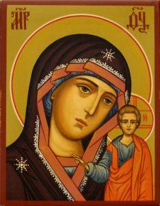 Рукописная икона Казанская 39 (Размер 7*9 см)